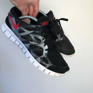 Nike Free Run 2 Black Silver Red Gym Sports Trainers Size UK 8.5