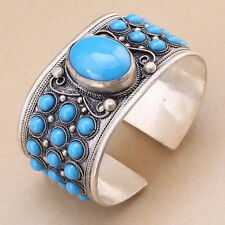 Excellent Turquoise Bead Cuff Bracelet Tibet Silver Jewelry Woman Gift
