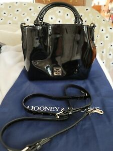 dooney and bourke barlow black patent leather NEW