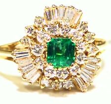Vintage 14K Gold Natural Emerald White Diamond 1.43CT Fine Engagement Ring Deco