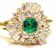 Vintage 18K Gold Natural Emerald White Diamond 1.43CT Fine Engagement Ring Deco