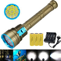 Underwater 100m 30000LM 9x XM-L T6 LED Diving Scuba Flashlight 18650/26650 Torch