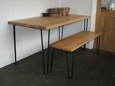 Heal's of London Brunel Dining Table. Solid Oak. Hairpin metal legs. Industrial.