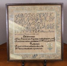 A Mary Suller Sutter Antique Sampler Linen 1823 Cross Stitch Th Wish Walter Pope