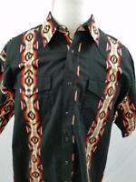 VTG Wrangler Mens XL Black Southwestern Pearl Snap Western Button Down Shirt