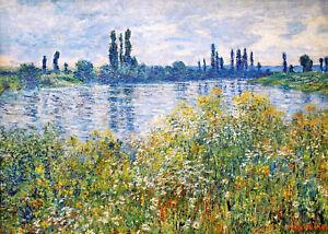 Vintage painting art claude monet  seine river flower canvas framed France
