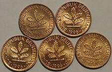 1 Pfennig 1996 A D F G J Kompletter Satz
