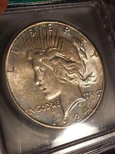 1924 S Peace Silver Dollar ICG AU 55 WHITE LUSTER BIG KEY