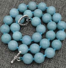 "12mm  Brazil natural Aquamarine Gemstone Necklace 18 ""Tibetan silver love clasps"