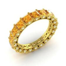 3.75 Ct Citrine Gemstone Eternity Band 14K Solid Yellow Gold Diamond Rings Size