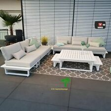 ICM Gartenlounge Set Menton Aluminium weiß Lounge Gartenmöbel Sitzgruppe Alu