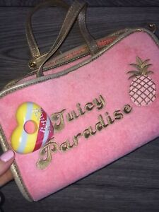Juicy Couture Velour Beach Bag Pouch Summer Purse Vintage Embroidered Cute Mini