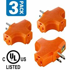 3-Outlet Grounding Adapter, Plug Extender, Heavy-Duty Grounded Power Tap -3 Pack