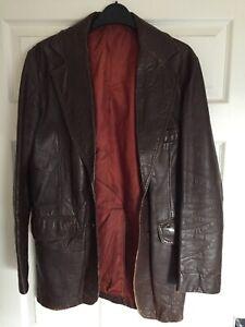 Mens Brown Retro Leather Jacket 70's Vintage