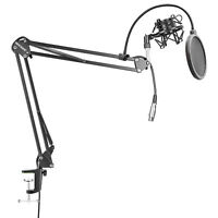 Neewer NW-35 Microphone Suspension Boom Scissor Arm Stand with Mic Pop Filter