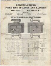 1869 Barnes & Deitz Illustrated Price List of Door & Drawer Locks & Latches