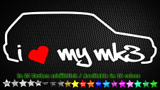 I Love My mk3 VW Golf 3 GTI vr6 ADESIVI STICKER DECAL 20cm x 7cm