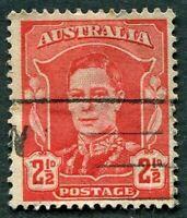 AUSTRALIA 1942 2 1/2d scarlet SG206 used NG King George VI KGVI a #W36