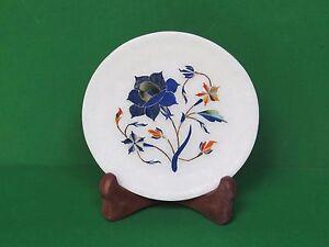 Marble Small Plate Inlay Art Pietra Dura lapis Stoneware Handicraft