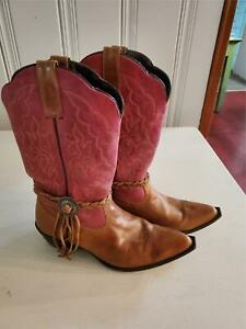 Oaktree Farms Bed Stu pink tan western cowboy boots leather rarely worn size 9