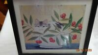Framed signed Print under glass Cat in Bowl of Cherries signed Jackson 94 NICE