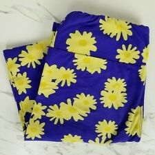 Lularoe OS One Size Blue Floral Yellow Flowers Print Spring Summer Leggings LLR