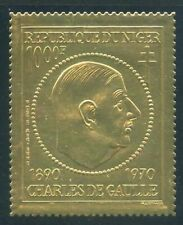 Niger 1971 Charles deGaulle Gold Foil Sc# C148 NH