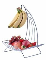 New 2 in 1 Banana Hook Tree Hanger With Fruit Bowl Basket Stand  Chrome