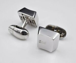 Unique Programmer Solid 14k White Gold Mouse End and Escape Key Cufflinks M827