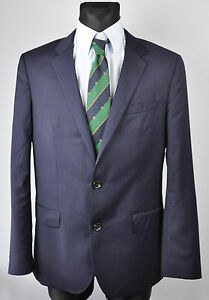 HUGO BOSS Pinstriped Navy Blazer UK 40 US Coat Sport Suit M Jacket Gr EU 50 DE