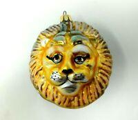 Vintage 1991 Christopher Radko Lion Head Glass Christmas Ornament Gold 91-031-0