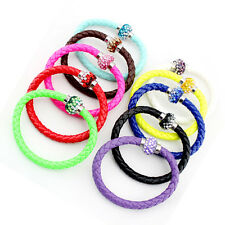 Wholesale 10pc Leather Wristband Cuff Magnetic Rhinestone Buckle Bracelet Bangle