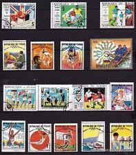 108T3  TCHAD 16 timbres oblitérés : J.O de Bresil,Mexico,Tokyo,Munich