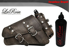 La Rosa Sportster Saddlebag & Gas Bottle - 2004 UP Rustic Black Leather Left Bag