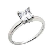 Joya Anillos Princesa Diamante 14 K Oro Blanco 0,25 Quilates Solitario Wesselton