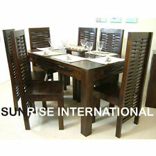 Stylish Wooden Lattice Dining Table with Six Chair Set