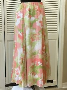Lovely Ruby Road Summer Lined Apricot Floral Maxi Skirt 16W