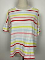 Seed Heritage Womens Multicolor Round Neck Striped Cropped Cotton Top Size S A18