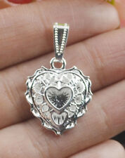 Womens 925 Sterling Silver Filled Crystal Heart Pendant Wedding Jewelry Gift