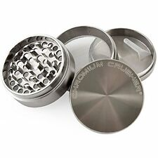 Herb Spice Grinding Mill Tobacco Grinder 4-Pc Gunmetal Chamber Silver Alloy Smok