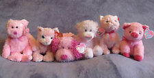 Lot: 6 Ty VALENTINES Pink Beanie Baby Most NWT Pinkys SPARKLE Dog Bear Cat Pig