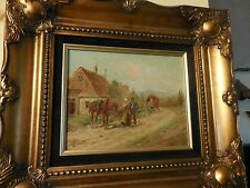 painting on board of a country scene of Country Figures Signed Eugene LaForet NR