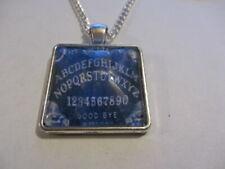 Ouija Board Glass Pendant Necklace Blue ( Handmade )