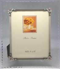 8 x 10 Etched/Scalloped Glass with Metallic Colored Flowers (Item # 305)