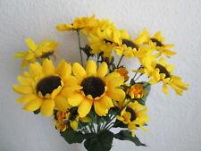 10 Sonnenblumen Deko Zweige mit Stiel 52cm Künstliche Kunst Blume Kunst Pflanzen