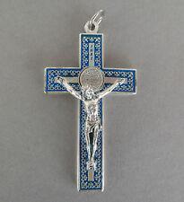 Wandkreuz,Benediktus Anhänger ca. 7,5 cm blau-silberfarben Metall PG 348ox blu