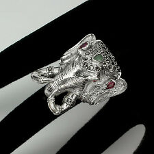 JUMBO! BREATHTAKING GREEN EMERALD-RED RUBY-MARCASITE 925 SILVER ELEPHANT RING 9