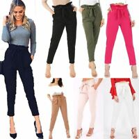 Womens Paper Bag Tie Waist Belted Pants Ladies Full Length Cigarette Trousers