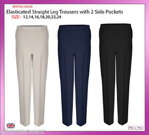Ladies Pull On Half Elasticated Bi-Stretch Trouser Pockets Plus Sizes 12-24