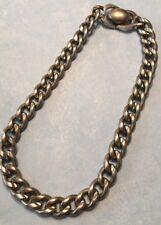 "Vtg Retro Pat Pend Silver Tone Cuban Curb Link 14"" Heavy Choker Necklace-Estate"